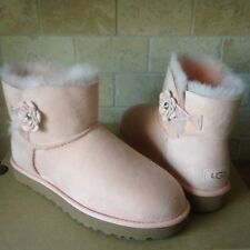 UGG Mini Bailey Petal Bling Swarovski Tropical Peach Suede Boots Size 10 Womens