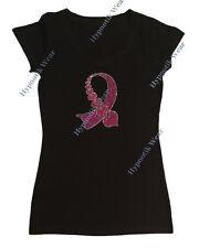 """Para Mujer Rhinestone Camiseta """"cáncer Cinta Con Corazones"""" en S, M, L, Xl, 2x, 3x"""