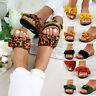 New Womens Mid Wedge Heel Sliders Bow Slip On Sandals Comfy Shoes Sizes 3-8