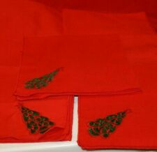 """7 Vintage Christmas CLOTH NAPKINS Red with APPLIQUE CHRISTMAS TREES 18.5"""" SQUARE"""
