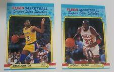 1988-89 Fleer '88 Super Star Sticker Basketball with MICHAEL JORDAN and MAGIC og