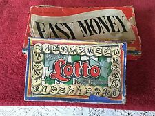 vintage board game lot EASY MONEY & LOTTO (milton bradley company)