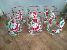 Georges Briard Christmas Glass High Ball Tumblers Santa Claus Presents Set of 6