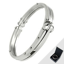Stainless Steel HandCuff Silver Tone Hand Cuff Fashion Bracelet w/ Gift Box
