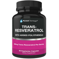 Purest Vantage Trans Resveratrol (Polyphenols Added) 600 Mg 60 Caps Exp 09/28/22
