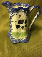 SPATTERWARE PITCHER Molly Dallas  BLUE COWS Rimmed Art Pottery 32oz