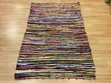 Multi Coloured Handwoven Rag Rug Funky Recycled Mix Textures 110x180cm 50%OFF