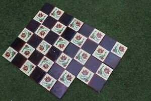 """RECLAIMED VICTORIAN TILES FROM FIRE SURROUND MANTLEPIECE 6""""x6""""x11 TILES"""