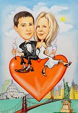 Caricature by photo. Custom hand-made funny portrait.