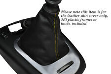 YELLOW STITCH MANUAL LEATHER GEAR GAITER FITS RENAULT SCENIC MK3 09-14