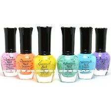 6 KLEANCOLOR CHIC TWIST DECKED EDGY GLITTER CONFETTI NAIL POLISH LACQUER KNP24