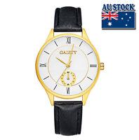 Black Leather 18K Gold Plated Roman Steel White Dial Quartz  Lady Wrist Watch