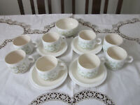 FOUR HORNSEA FLEUR CUPS AND SAUCERS, BOWL PLUS FOUR EXTRA CUPS