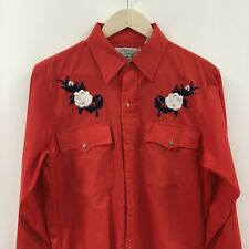 Vintage Womens Large SILVER SPUR Poly Cotton Western Pearl Snap Shirt Embroi 25c