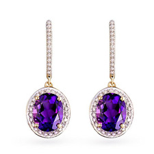 Popular 3.81ct 14k Yellow Gold Natural Brazil Amethyst Good Diamond Earrings