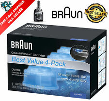 4 Count Braun Clean Renew Cartridge Refills Series 3 5 7 Genuine Shaver Cleaner