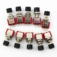 10Pcs Black 3Pin  6mm  Momentary Automatic return Push Button Switch ON-(ON)