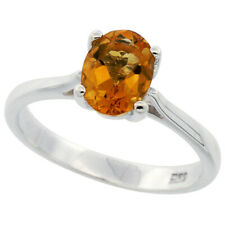 Fine Women 925 Sterling Silver Rhodium Plated, Oval Citrine Solitaire Ring Band