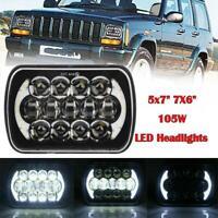 "105W 7x6"" 5X7"" LED Projector Headlight Hi-Lo Beam Halo DRL For Jeep Cherokee XJ"