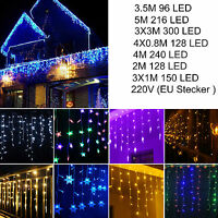 Icicle Hanging Curtian Fairy String LED Lights Christmas Wedding Party Outdoor