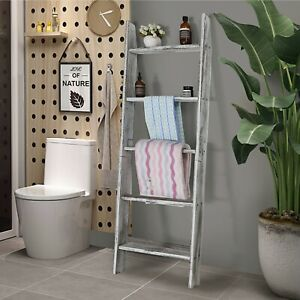 4.5 Ft Decorative Blanket Holder Storage Ladder Wall Leaning Wood Towel Shelf