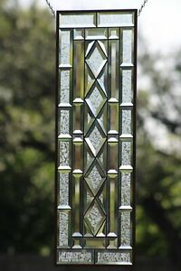 IN STYLE, Beveled Stained Glass Panel 32.5/8 X10 1/2
