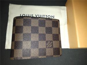 Authentic Louis Vuitton Mens Damier Ebene Multiple Bifold Wallet w/Box
