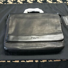 Kenneth Cole New York Leather Messenger Bag, Laptop Bag, Black ***Brand New***