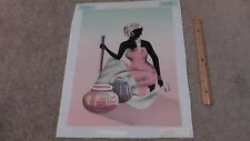 Black African Tribal Woman Genuine Lithograph Canvas Print Artistic Impressions