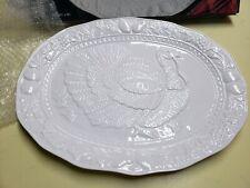 "17.5"" OGGI Serving Plate Large Turkey Thanksgiving White Ceramic Platter Meat"