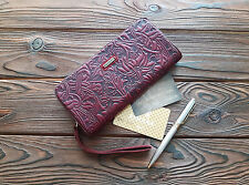 Wristlet Party Bag Genuine Leather Women Clutch Zippered Wallet Wrist Leather