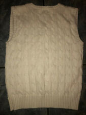 Ralph Lauren Polo Boys Cable Knit Sweater Vest Size 7 off White Blue Pony