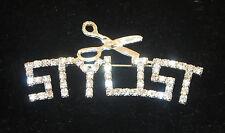 Stylist Pin Rhinestone Hair Scissors Hairdresser Cut Silver Tone New