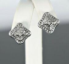 $2,500 14k White Gold 1.10ct Princess Cut Round Baguette Diamond Square Earrings