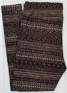 TC LuLaRoe Tall & Curvy Leggings Aztec Tribal Gray Black NWT F63