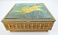 "Ornate Cast Metal ""DEGAS"" Silk Ballet Scene Musical Jewelry Music Box NICE Plays"