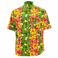 Corte Normal Camisa Manga Corta Loud Originals Floral Hawaii Rosemallows Verde