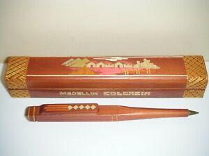 Vintage Medellin Colombia Wooden Pen & Case