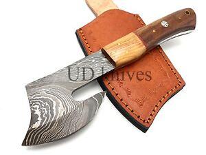8 INCH UD CUSTOM DAMASCUS STEEL FULL TANG HUNTER MINI AXE KNIFE B6-1101