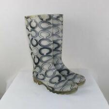 Coach Ladies White Matte Rubber Signature Pixy Rain Boots Size  10