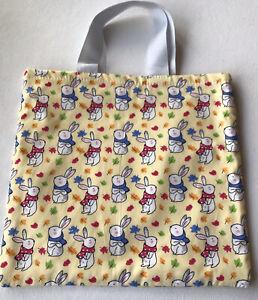 Easter Egg Hunt Bag Made With John Louden Bunnies Rabbit Cotton Fabric