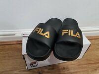 Fila Black Gold Drifter Slides Women's Size UK 4 New