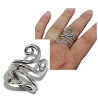 Longue bague en argent massif 925 motif spirale T 54 et 56 bijou