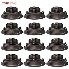 """TORCHSTAR 12 Pack 4"""" Recessed Can Light Trim with Oil Rubbed Bronze Step Baffle"""