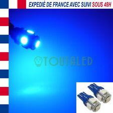 2X AMPOULE LAMPE VEILLEUSE 12V T10 W5W 5 LED 5050 BLEU INTERIEUR PLAFONNIER