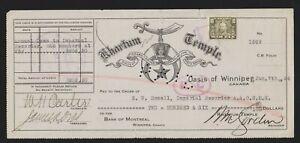 Canadian Revenues van Dam War Tax Stamp Khartum Shriners Masonic Temple ck 1924