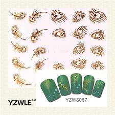 Nagelsticker  Fingernägel Aufkleber Tattoo Nail Art Nageldesign 6057 gold Feder