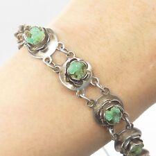 """Antique 900 Silver Real Emerald Gemstone Rose Floral Link Bracelet 7"""""""