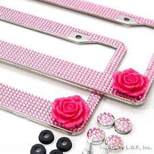 2 Rose Pink Bling Crystal RhineStone License Plate Frame Car Truck Auto Jewel