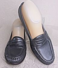 SAS Wink Women 7 M Pewter Silver Leather Penny Loafer Moccasin Slip On Shoes EUC